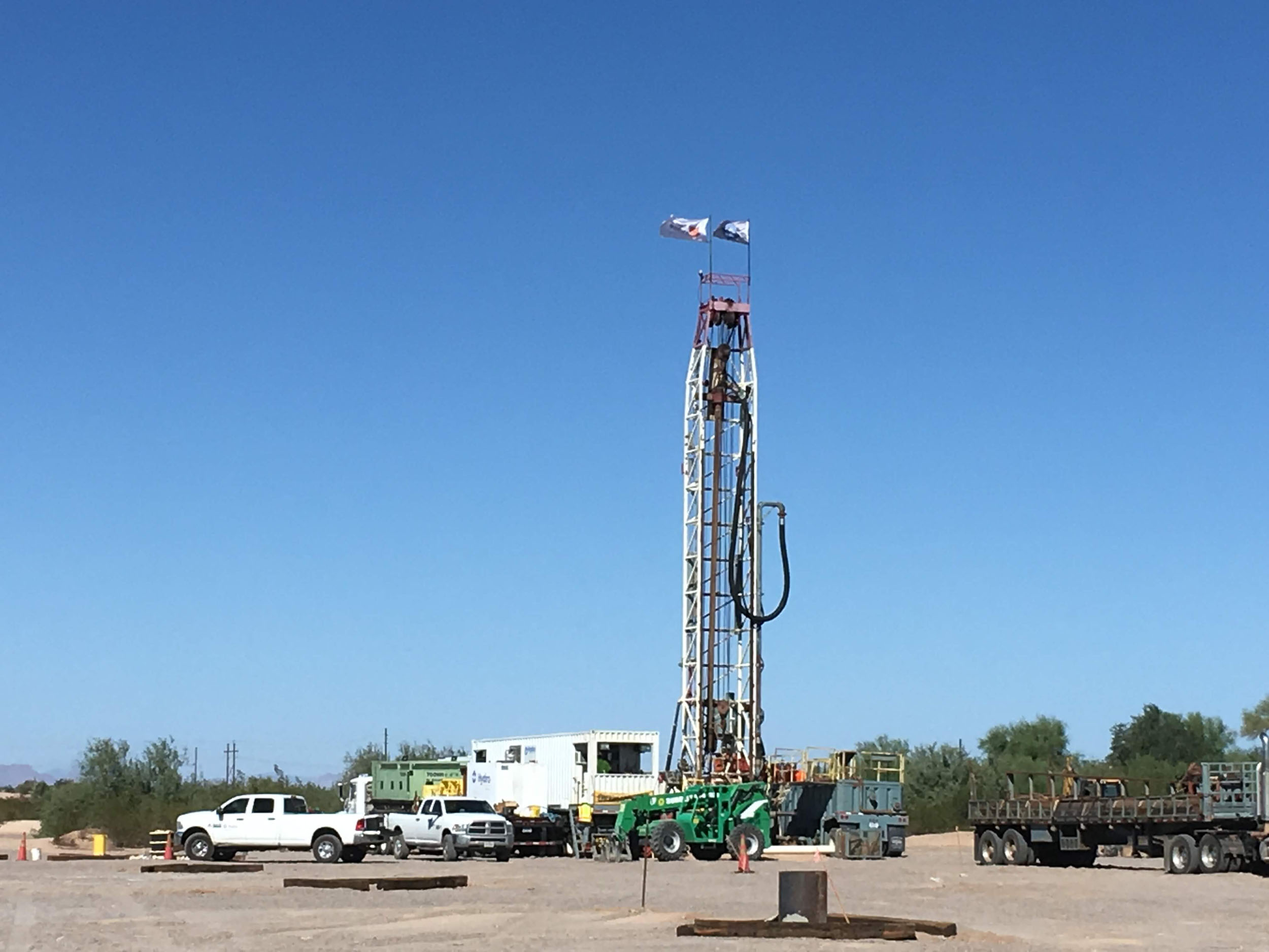 Five drill rigs are now working 24/7 on the Florence Copper property to install injection/recovery wells, monitoring wells, and other needed wells for the PTF